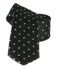 Goldenland slim nyakkendő - Fekete pöttyös Aprómintás nyakkendő