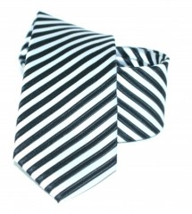 Goldenland slim nyakkendő - Fekete-ezüst csíkos