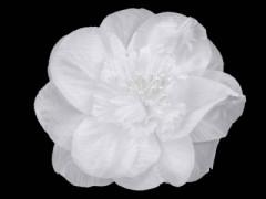 Rózsa kitűző gyöngyökkel - Fehér