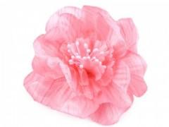 Rózsa kitűző gyöngyökkel - Rózsaszín