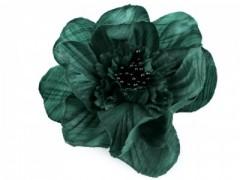 Rózsa kitűző gyöngyökkel - Sötétzöld