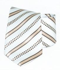 Classic prémium nyakkendő - Fehér-barna csíkos