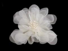 Virág kitűző - Ecru