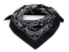 Pamut kendő - Paisley fekete mintás