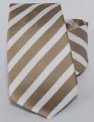 Prémium selyem nyakkendő - Fehér - arany csíkos
