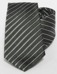 Prémium selyem nyakkendő - Khaky-fehér csíkos