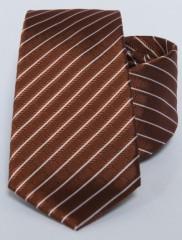 Prémium selyem nyakkendő - Rozsdabarna-fehér csíkos