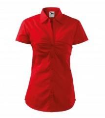 Női puplin ing rövidujjú - Piros