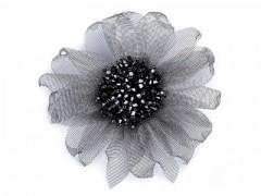 Virág kitűző - Szürke