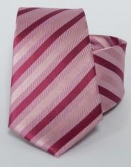 Prémium selyem nyakkendő - Rózsaszín-pink csíkos