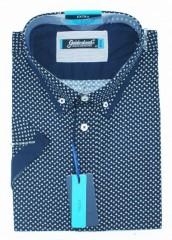Goldenland extra rövidujjú ing - Sötétkék mintás Extra méret