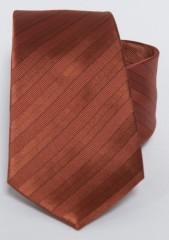 Prémium selyem nyakkendő - Téglavörös csíkos
