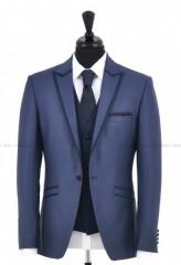 Carlo Benetti Esküvői öltöny+mellény szett 5 részes - Acélkék Öltönyök, Zakók