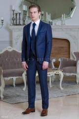 Carlo Benetti Esküvői öltöny+mellény szett 5 részes - Kék Öltönyök, Zakók