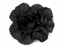 Rózsa kitűző gyöngyökkel - Fekete