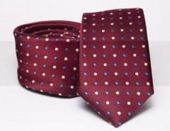 Prémium slim nyakkendő - Bordó pöttyös Aprómintás nyakkendő
