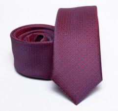 Prémium slim nyakkendő - Burgundi aprómintás Aprómintás nyakkendő