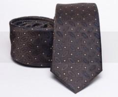 Prémium slim nyakkendő - Sötétbarna mintás Mintás nyakkendők