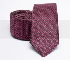 Prémium slim nyakkendő - Meggypiros mintás Aprómintás nyakkendő