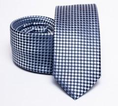 Prémium slim nyakkendő - Sötétkék aprókockás Aprómintás nyakkendő