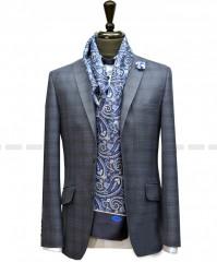 Carlo Benetti Gyapjú zakó - Acélkék kockás Férfi kabát, zakó