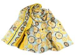 Szatén virágos sál - Sárga