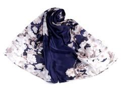 Szatén virágos sál - Kék