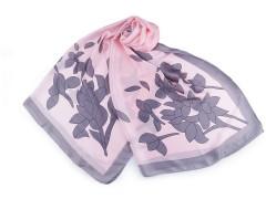 Szatén sál virágokkal - Rózsaszín