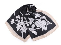Szatén sál virágokkal - Fekete