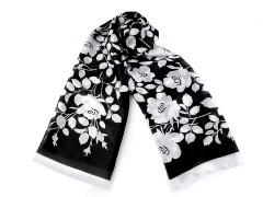 Szatén sál mezei virágokkal - Fekete