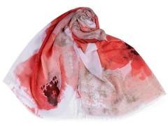 Nagy virágos sál - Piros