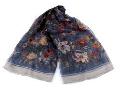 Virágos sál műselyem - Kék