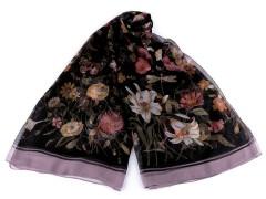 Virágos sál műselyem - Lila