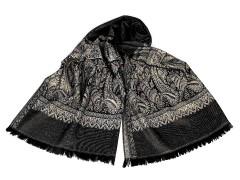 Sál ornamentekkel és lurexel - Fekete Férfi kesztyű, sál