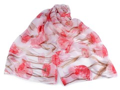 Műselyem virágos sál - Rózsaszín