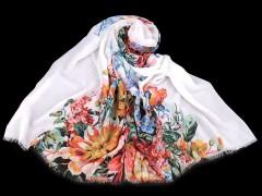 Sál folklór virággal - Fehér