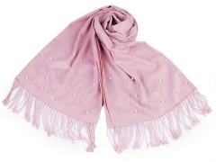 Sál pashmin gyöngyökkel és rojtokkal - Rózsaszín