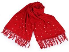 Sál pashmin gyöngyökkel és rojtokkal - Piros