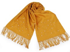 Sál pashmin gyöngyökkel és rojtokkal - Mustár
