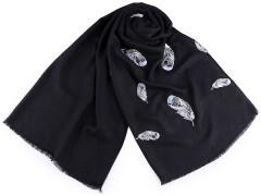 Sál hímzett tollakkal - Fekete