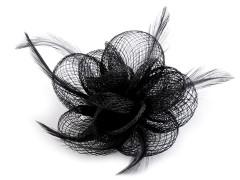 Bross virág tollal -  Fekete