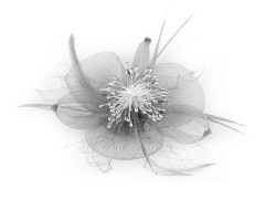 Bross virág tollal -  Szürke