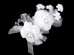 Bross hajdísz virággal - Fehér
