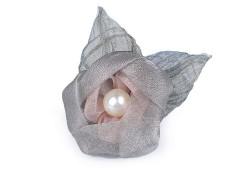 Bross virág organza gyöngyökkel - Szürke