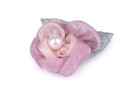 Bross virág organza gyöngyökkel - Nyers