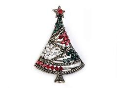 Bross csiszolt kővel karácsonyi fa