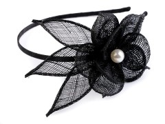 Hajpánt virágok gyönggyel - Fekete