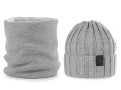 Férfi téli sapka és nyakmelegítő szett - Szürke Férfi kalap, sapka