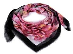 Kendő batikolt virággal - Fekete