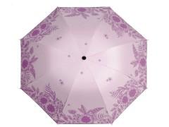Női összecsukhatós esernyő virágmintás - Rózsaszín